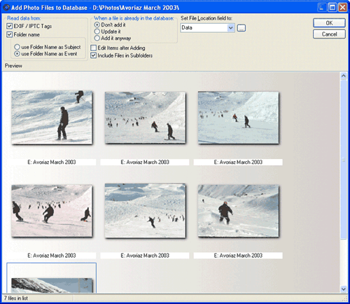 Add image files to your personal photo database