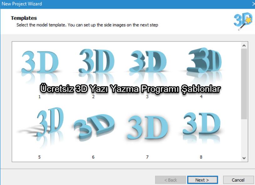 Ücretsiz 3D Yazı Yazma Programı Şablonlar