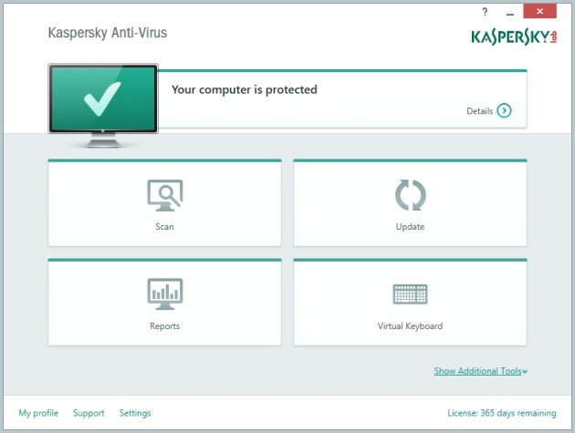 Kaspersky Anti-Virus (2015): Main Window