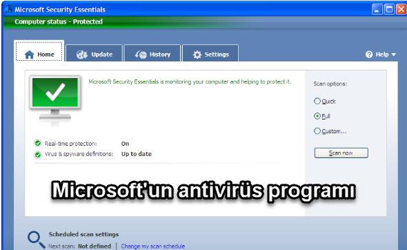 Microsoft Security Essentials Microsoft'un antivirüs programı