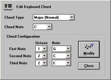 Edit Keyboard Chords screen