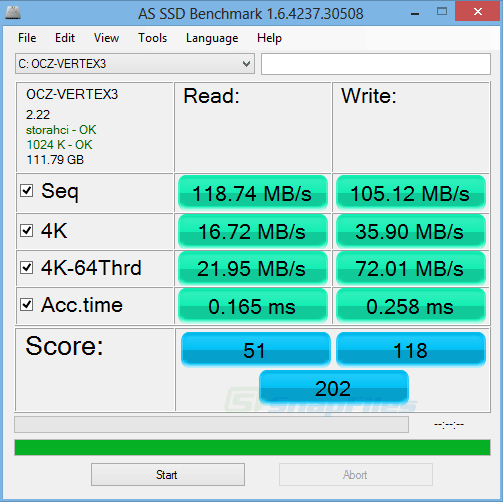 screen capture of AS SSD Benchmark
