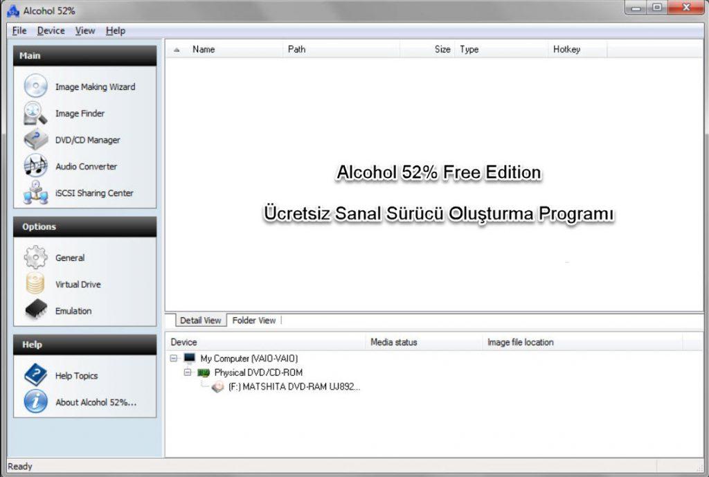 Alcohol 52% Free Edition ücretsiz sanal sürücü oluşturma programı