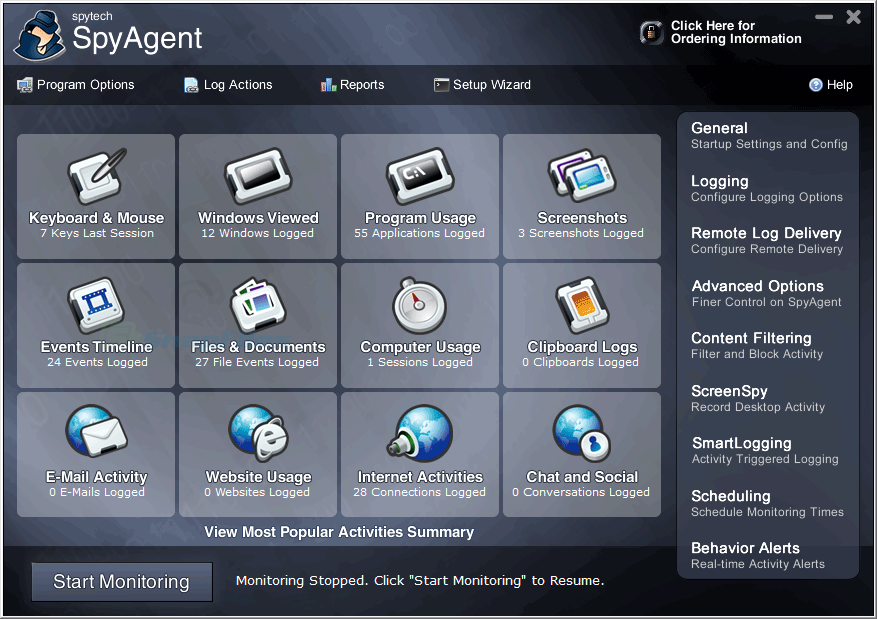 screen capture of Spytech SpyAgent