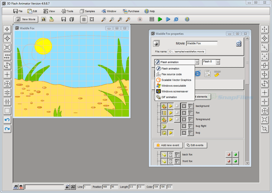 screen capture of 3D Flash Animator