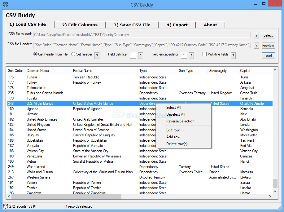 screen capture of CSV Buddy