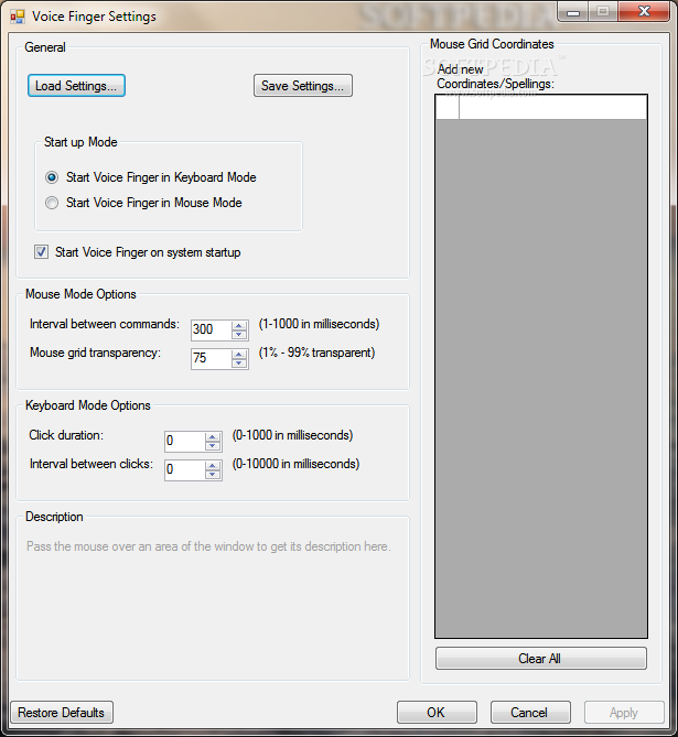 Voice Finger screenshot 2 - Users will be able to access options such as Mouse Mode or Keyboard Mode within the Settings window