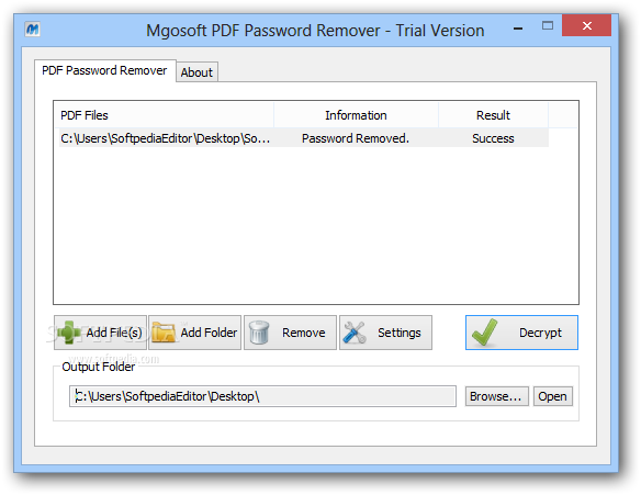 Mgosoft PDF Password Remover screenshot 1 - The application enables you to load files, remove their password protection and save them to a desired location on your computer