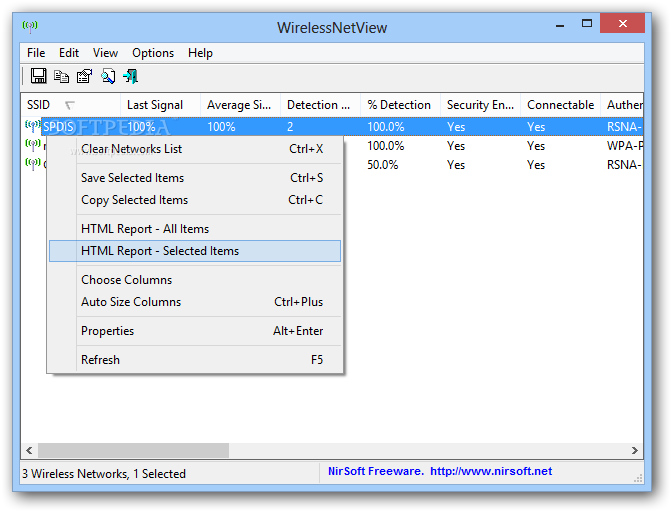 WirelessNetView screenshot 1 - The main window of WirelessNetView enables users to explore all the Wi-Fi networks in their proximity