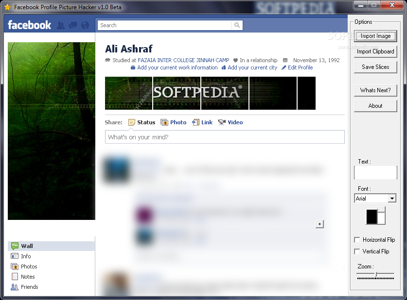 Facebook Profile Picture Hacker screenshot 1 - This is the main window of Facebook Profile Picture Hacker, where you will be able to access all the features of the application.