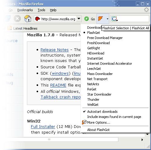 FlashGot Toolbar button