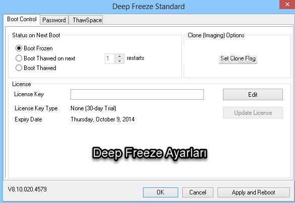 Deep Freeze Ayarları