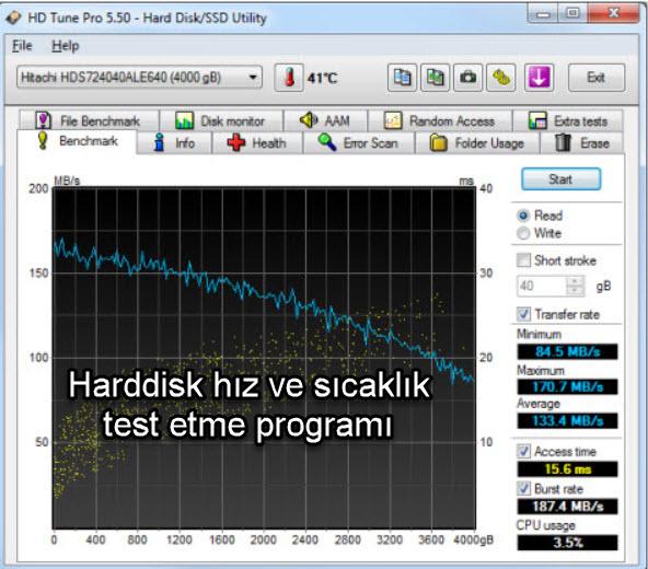 HD Tune Harddisk hız ve sıcaklık test etme programı