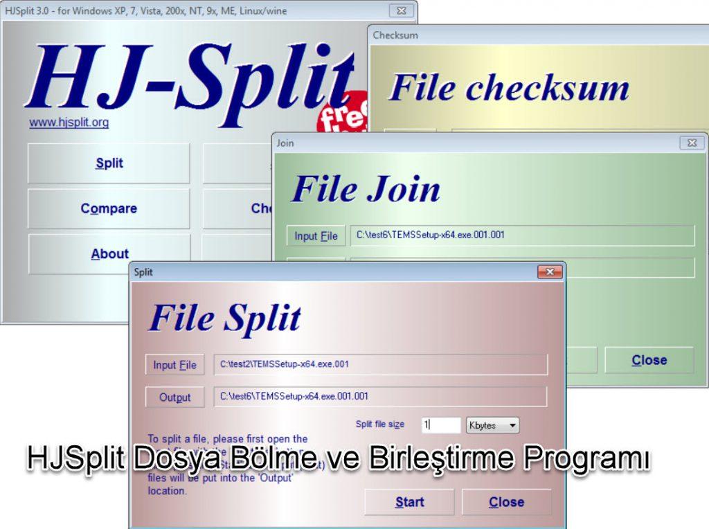 HJSplit Dosya Bölme ve Birleştirme Programı