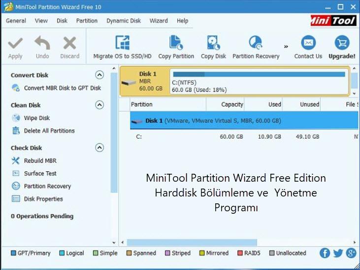 MiniTool Partition Wizard Free Edition Harddisk Bölümleme ve  Yönetme Programı