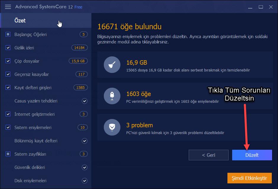 advanced system care 12 tarama ekran görüntüsü