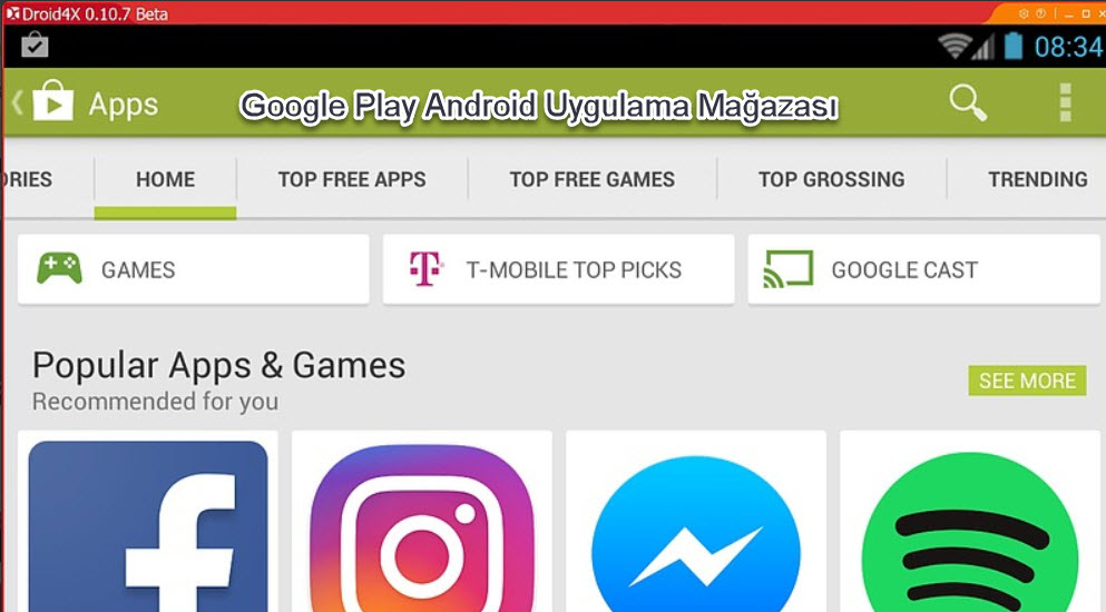 droid4x Google Play Android Uygulama Mağazası