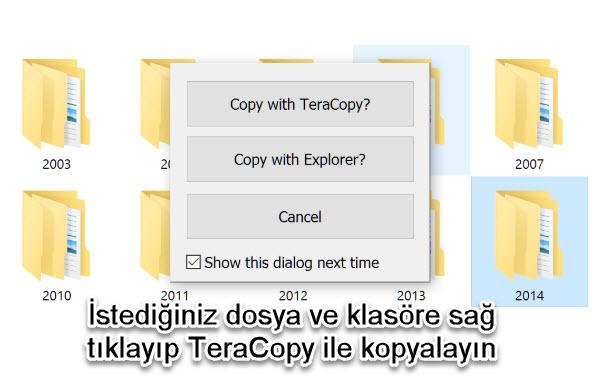 teracopy sağ tık menü entegreasyonu