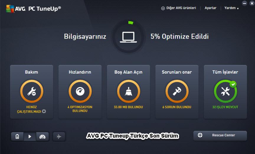 AVG PC Tuneup Türkçe Son Sürüm