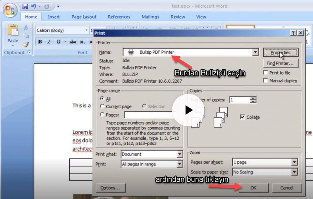 BullZip PDF Printer pdf ye dönüştürme programı