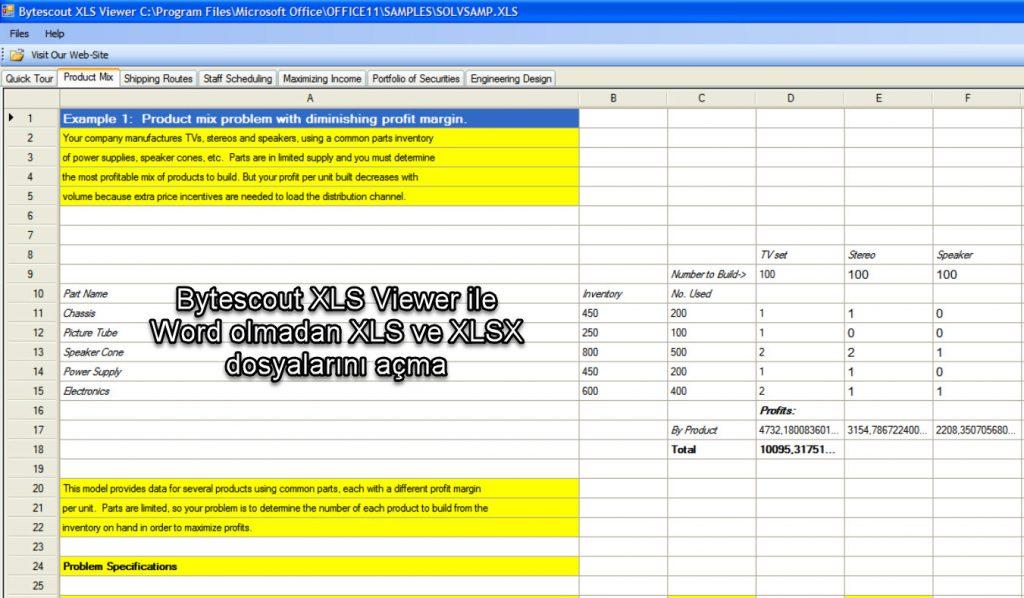 Bytescout XLS Viewer ile Word olmadan XLS ve XLSX dosyalarını açma