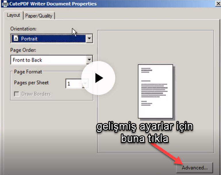 CutePDF writer ekran görüntüsü