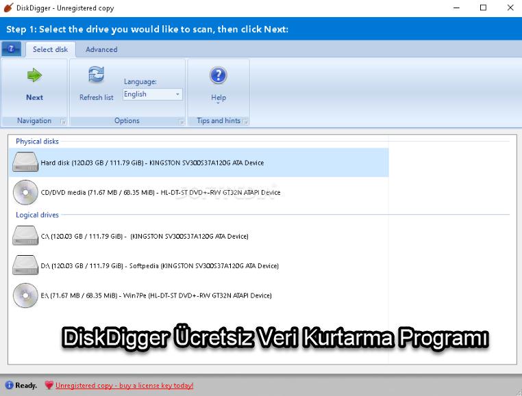 DiskDigger Ücretsiz Veri Kurtarma Programı