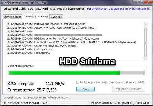 HDD Low Level Format Tool geri dönüşümsüz silme sıfırlama programı