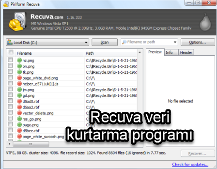 Recuva veri kurtarma programı