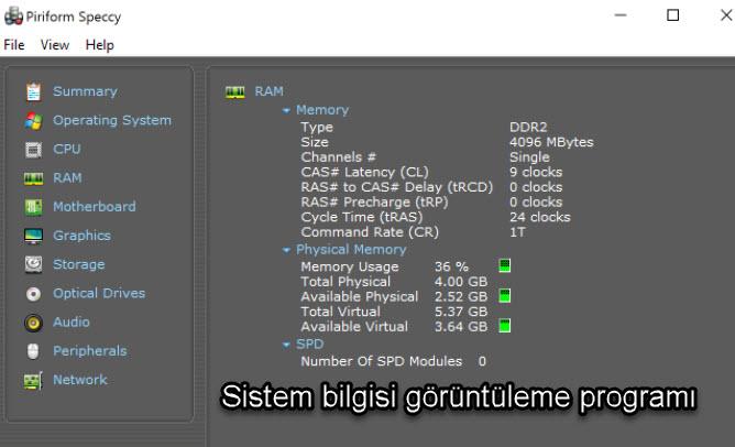 Sistem bilgisi görüntüleme programı