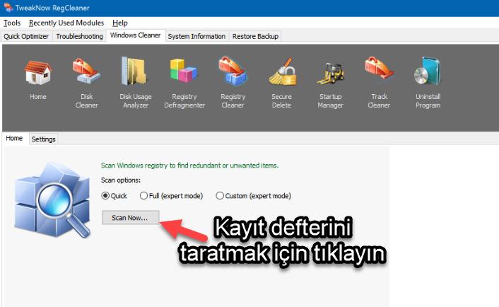 TweakNow RegCleaner kayıt defteri temizleme programı