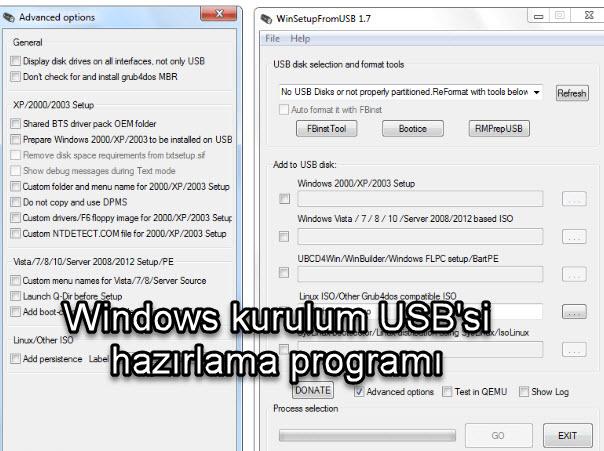 Windows kurulum USB'si  hazırlama programı