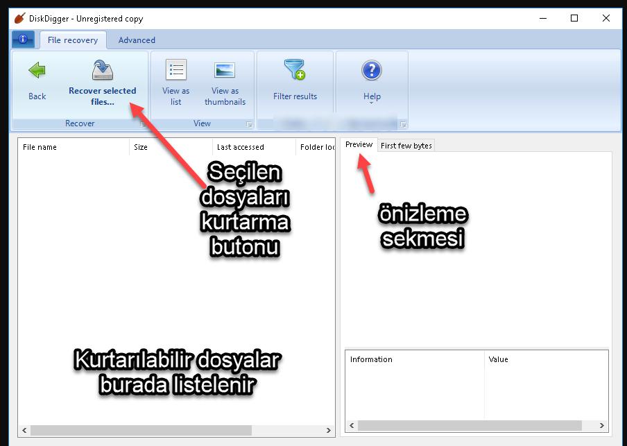 diskdigger ana penceresi veri kurtarma programı