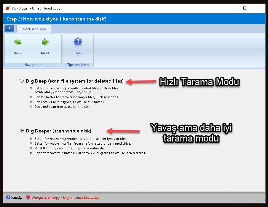diskdigger tarama modu ekran görüntüsü