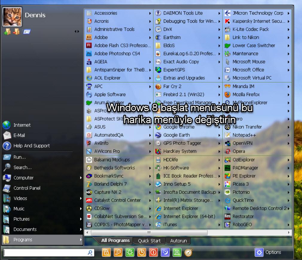 Windows 8 başlat menüsünü bu harika menüyle değiştirin