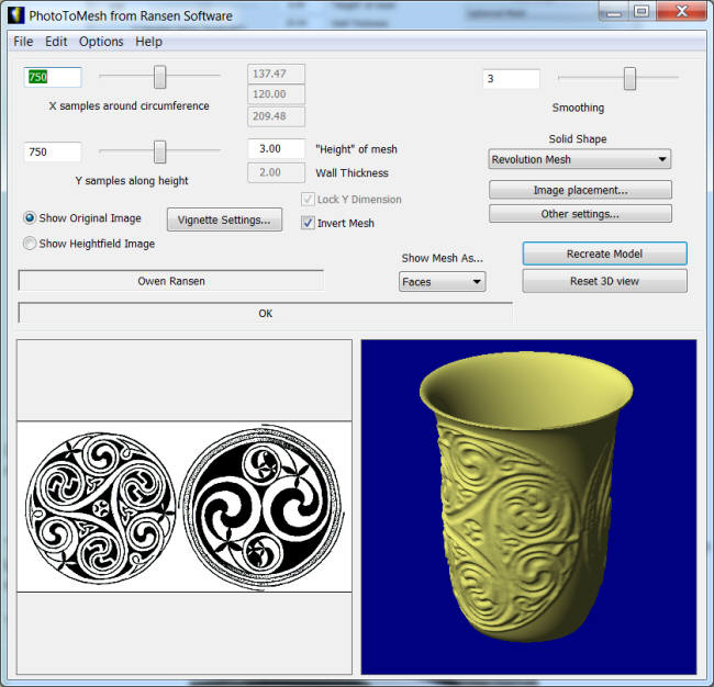Celtic Vase STL for 3D printing and NC